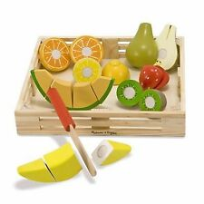Wood Toys Cutting Fruit Food Kids Learn Play Set Melissa And Doug Toy Box New