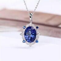 """Blue Sapphire & Brilliant Diamond 14k White Gold Over Pendant 18"""" Chain Necklace"""