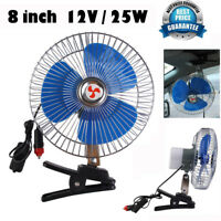 8'' 12V DC 25W Portable Vehicle Auto Car Clip-on Fan Oscillating Car Cooling Fan