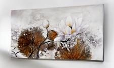 XXL ÖLGEMÄLDE Blumen echte Lotus Blätter Glitzer 120x60cm Canvas 3D Effekt Neu