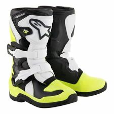 Alpinestars Tech 3s Niños Todoterreno Motocross MX Botas - Blanco/Amarillo