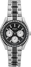 6 Rotary Ladies Stainless Steel Bracelet Black & Silver Watch Chrono Lb03447/04