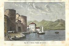 Stampa antica BRIVIO Adda veduta castello Brianza Lecco 1896 Old antique print
