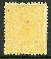 Australia 1883 Queensland 4p Yellow Wmk 68 Perf 12 Scott #92 Mint G270