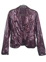Lafayette 148 New York Faux Leather Jacket Blazer Size 10 Purple Crinkle Texture