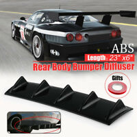 Universal Gloss Black Rear Bumper Lip Diffuser Shark Fin Style Car Back Splitter
