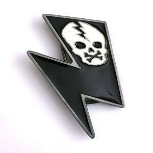 Kreepsville 666 Psychobilly Gothic Horror Metal Lightning Bolt Skull Belt Buckle
