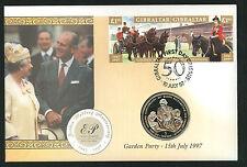1997 Golden Wedding Coin  FDC - Crown Coin & Gibraltar Pmk