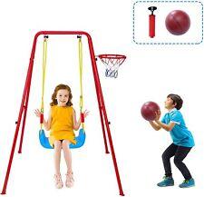 Lonabr Toddler Swing Set Basketball Pump Hanging Seat Kids Gift Backyard Outdoor