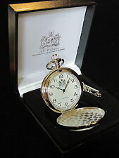 Stag Deer Stalking English Pewter Faced Polished Pocket Fob Watch & Chain & Box