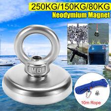 250KG Pull Salvage Recovery Magnet Neodymium Treasure Hunting Fishing +10M