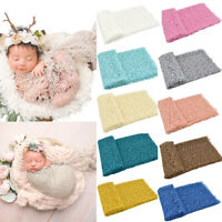 AU_ JW_ Newborn Baby Sleeping Blanket Stretchy Mesh Lace Wrap Swaddle Photograph
