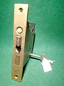 "CORBIN #1250 1/4 PUSH BUTTON MORTISE LOCK w/KEY  6 7/8"" FACE 2 3/4"" BS (10252)"