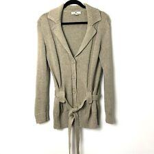 Banana Republic Women's Organic Cotton Belted Cardigan Sweater Beige Khaki Sz L