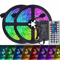 32.8 ft RGB 5050 Waterproof Led Strip Lights SMD 44 Key Remote 12V DC Power Kit