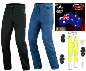 Australian Bikers Gear CE Armour Men Motorcycle Jeans Trouser Lined with KEVLAR