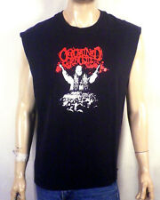 vtg Black Metal Ordained Genocide T-Shirt cut sleeves L