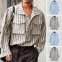 Vintage Men's Cargo  Shirt Long Sleeve Striped Retro T Shirt Tops Tee Blouse