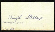 Virgil Stallcup {1922-1989} Signed Cut Card Cincinnati Reds Shortstop COA