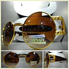 Mens Vintage Retro Style Sunglasses Designer Fashion Round Gold & Brown Frame