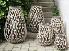 Laterne Windlicht  Rattan Weide mit Glaseinsatz Scandi Boho Shabby Stil 25-70 cm