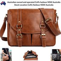 Retro Computer Bags Vintage Leather Messenger Shoulder Travel Satchel iPad Bag