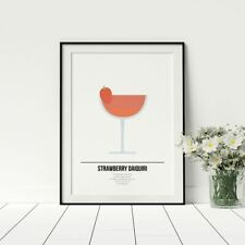 Strawberry Daiquiri Wall Art Cocktail Design Poster Drink Recipe Print Décor