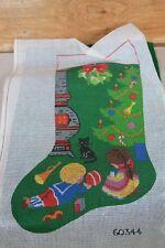 VTG HandPainted Needlepoint Christmas Stocking Canvas w Green Felt Fabric TO DO