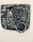 Uribazo. Linography. Unitled, 1979. Original signed. Linography on cardboard
