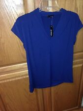"""Authentic """" Mi-Lieux """" Women's Navy Blue Pleated Capped Sleeve Tank/Cami Top"""