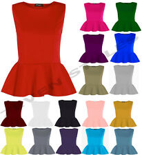 WOMENS SLEEVELESS PLAIN PEPLUM PLUS SIZE FRILL FLARED MINI PATRY DRESS TOP 8-26