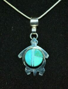 Necklace Turtle Turquoise & Sterling Native American Navajo Yazzie Free Chain