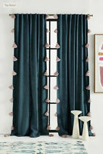 "NEW Anthropologie Mindra Curtain Green Stripe Tassel 50x84"""