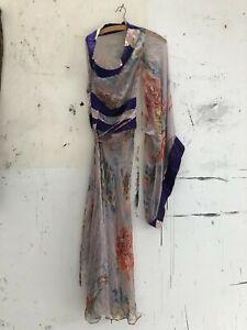 roberto cavalli early2000 silk one-shoulder kimono dress size Italy40, S vintage