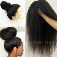 Yaki Kinky 360 Lace Front Wig Peruvian 100% REAL Human Hair Full Lace Wigs Black