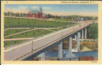 BA-220 Viaduct and Armory, Jamestown, New York, NY, 1930's Linen Postcard