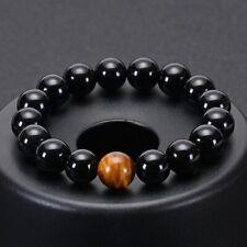with Beads Men Jewelry Bracelet Spiritual Tiger Eye Stone Natural Black Onyx