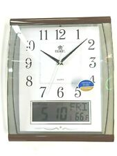 15 inch wall clock with LCD display of day, date & indoor temperature (PW0527AKS