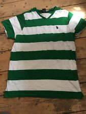 Us Polo Assn Size Medium Green Stripe V Neck T-shirt (mt2)