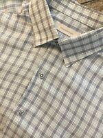 ERMENEGILDO ZEGNA Men's Large Linen/Cotton Shirt Grey Blue Check 16½ US Mint