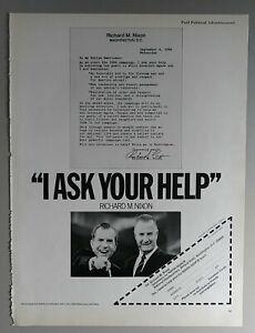 1968 Nixon Agnew I Ask Your Help Presidential Campaign Magazine Ad B&W 10 x 13