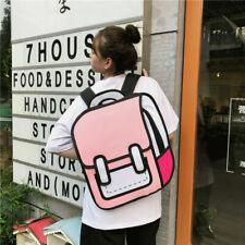Bookbag 2D Drawing Cartoon Paper Shoulder Bag Jump Style 3D Comic Backpack