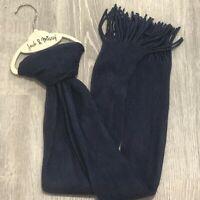Jack & Missy Womens Fashion Scarf Navy Blue One Size Fringe Rectangle New SX57