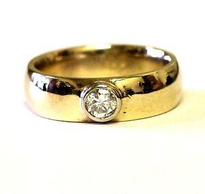 10k yellow gold .50ct SI1 H round diamond bezel wedding band ring 9.5g vintage