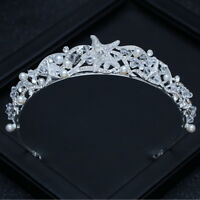 Lovely Starfish Pearl Crystal Wedding Bridal Party Pageant Prom Tiara Crown