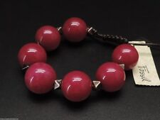 Fossil Color Bracelet Large Berry Bead Leather Slide New! NWT