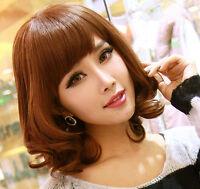Ladies Fashion Style Short Womens Wavy Curly Full Hair Wig Bob Cosplay Wigs+Cap