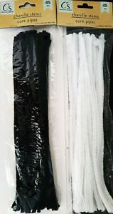 Chenille Stems Pipe Cleaners 45/Pk, Select: Black &/or White