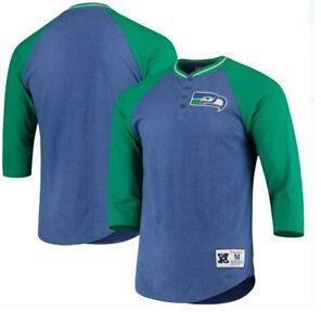 Mitchell & Ness Seattle Seahawks 4 Button Jersey Shirt New Mens Sizes $50