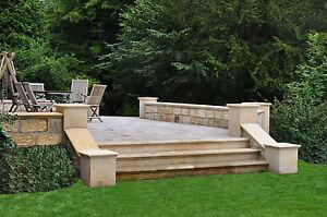 Blockstufe Sandstein Treppe 120 x 30 x 20 cm Florentiner Profil Sandstein gelb
